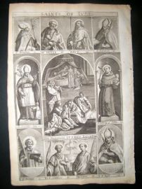 Ribadeneyra 1669 Folio Religious Print. Saints of June